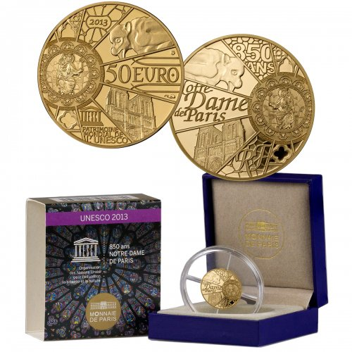 2013 France UNESCO World Heritage Site - Notre Dame 1/4 oz Gold Proof €50 GEM Proof