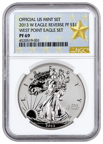 2013 W Reverse Proof Silver Eagle Ngc Pf69 West Point
