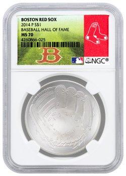 2014-P Baseball Hall of Fame Commemorative Silver Dollar NGC MS70 (Red Sox Label)