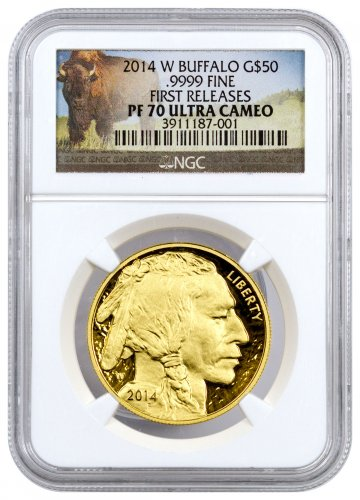 2014-W 1 oz Gold Buffalo Proof $50 NGC PF70 UC FR (Buffalo Label)