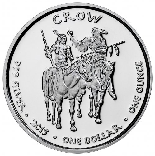 2015 Native American Silver Dollar - Montana Crow - Timber Wolf 1 oz Silver Proof Coin GEM Proof Original Mint Capsule
