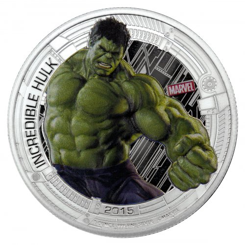 2015 Niue Marvel Avengers: Age of Ultron - Hulk 1 oz Silver Colorized Proof $2