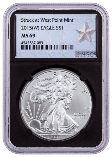 2015-(W) American Silver Eagle NGC MS69 (Black Core - West Point Silver Star Label)