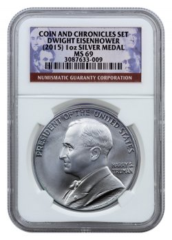 2015 Dwight D Eisenhower Coin And Chronicles Silver Medal