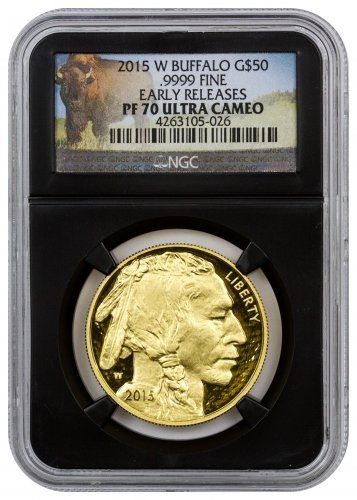 2015-W 1 oz Gold Buffalo Proof $50 NGC PF70 UC ER (Black Core Holder - Buffalo Label)
