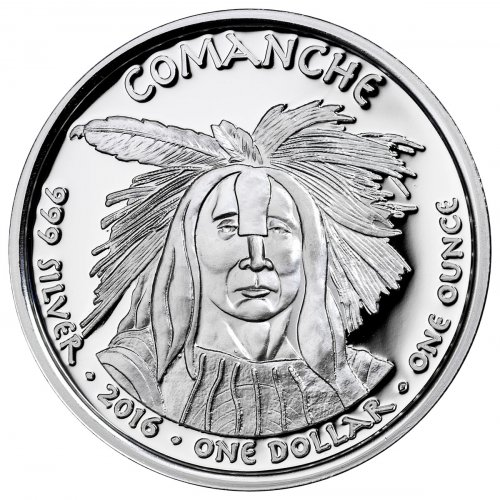 2016 Native American Silver Dollar - Texas Comanche - Longhorn 1 oz Silver Proof Coin GEM Proof Original Mint Capsule
