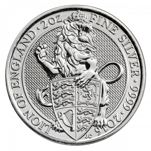 2016 Great Britain 2 oz Silver Queen's Beasts - Lion of England £5 GEM BU