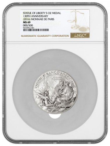 2016 France Statue of Liberty 130th Anniversary Commemorative 5 oz Silver Medal NGC MS69
