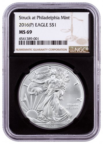2016-(P) American Silver Eagle NGC MS69 (Black Core)