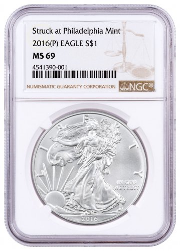2016-(P) Silver Eagle Struck at Philadelphia NGC MS69