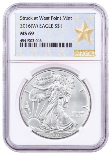 2016-(W) Silver Eagle Struck at West Point NGC MS69 (West Point Gold Star Label)