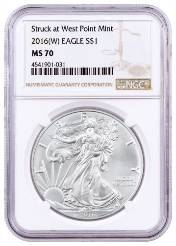 2016-(W) Silver Eagle Struck at West Point NGC MS70