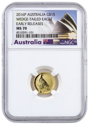 2016 Australia 1/10 oz Gold Wedge-Tailed Eagle $15 Coin NGC MS70 ER (Exclusive Australia Label)