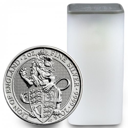 Roll of 10 2016 Great Britain 2 oz Silver Queen's Beasts - Lion of England £5 GEM BU