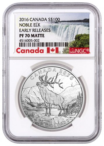 2016 Canada Noble Elk 1 oz Silver Matte Proof $100 Coin NGC PF70 ER (Exclusive Canada Label)