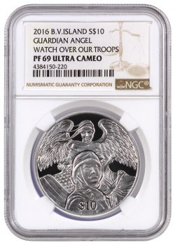 2016 British Virgin Islands Guardian Angel - Watch Over Our Troops 1 oz Silver Proof $10 NGC PF69 UC