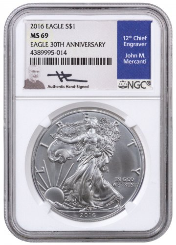 2016 American Silver Eagle NGC MS69 (Mercanti Signed Label)