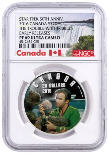 2016 Canada Star Trek - Trouble with Tribbles 1 oz Silver Colorized Proof $20 NGC PF69 UC ER (Exclusive Canada Label)
