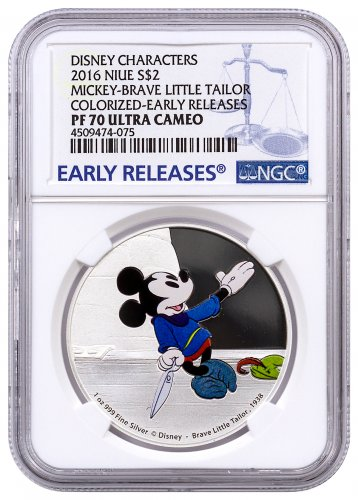 2016 Niue Disney Mickey Through the Ages - Brave Little Tailor 1 oz Silver Colorized Proof $2 NGC PF70 UC ER