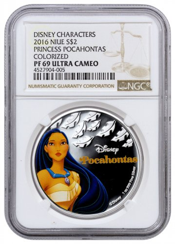 2016 Niue Disney Princess - Pocahontas 1 oz Silver Colorized Proof $2 Coin NGC PF69 UC