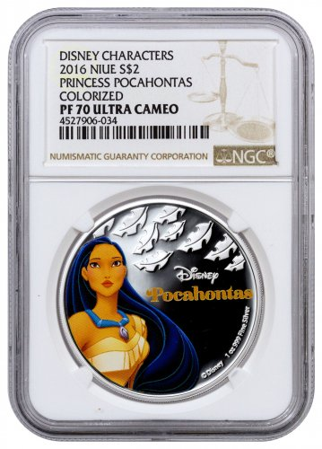 2016 Niue Disney Princess - Pocahontas 1 oz Silver Colorized Proof $2 Coin NGC PF70 UC