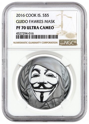 2016 Cook Islands Guy Fawkes Mask 1 oz Silver Enameled Proof $5 Coin NGC PF70 UC