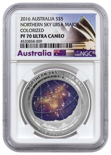 2016 Australia Northern Sky - Ursa Major Domed 1 oz Silver Colorized Proof $5 NGC PF70 UC (Exclusive Australia Label)