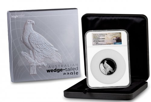 2016-P Australia 5 oz High Relief Silver Wedge-Tailed Eagle Proof $8 NGC PF70 UC (Mercanti Signed Label)