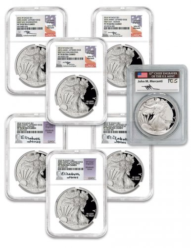 7-Coin Set - 2016-W Proof American Silver Eagle Scarce and Unique Coin Division NGC PF70 FDI