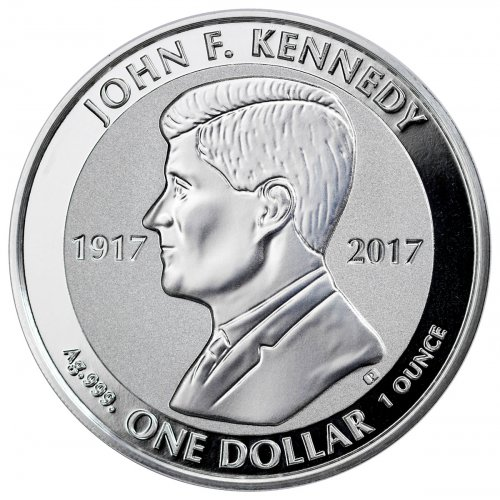 2017 British Virgin Islands John F. Kennedy 1 oz Silver Reverse Proof $1 Coin GEM Reverse Proof