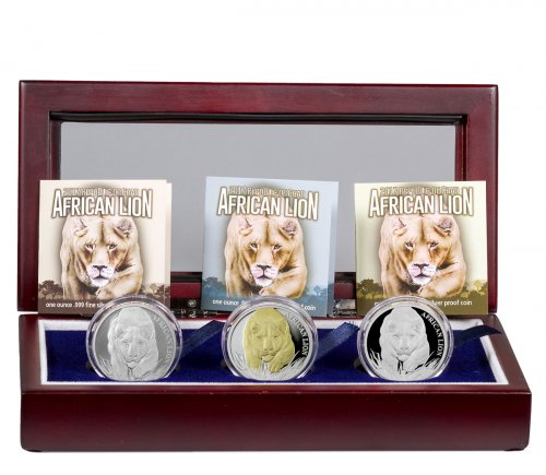 2017 Republic of Chad African Lion 1 oz Silver Mint State + Proof + Gilt Proof 5000 Francs 3-Coin Set GEM BU GEM Proof Display Box with COAs