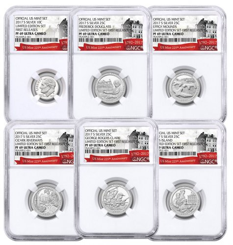 6-Coin Set - 2017-S U.S. Limited Edition Silver Proof Coins Set NGC PF69 UC FR Exclusive U.S. Mint 225th Anniversary Label
