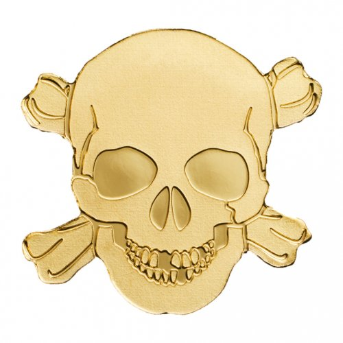 (2017) Palau Pirate Skull 1/2 g Gold $1 Coin GEM BU Original Mint Capsule