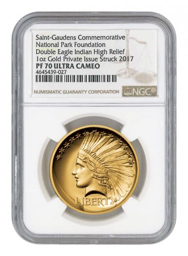 2017 Saint-Gaudens $20 Double Eagle Indian Head Pattern High Relief 1 oz Gold Proof Medal NGC PF70 UC
