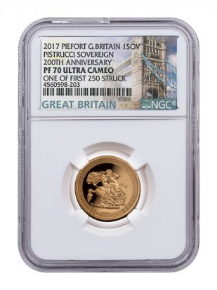 2017 Great Britain 1/2 oz Gold Sovereign - Pistrucci 200th Anniversary Piedfort Proof Coin Scarce and Unique Coin Division NGC PF70 UC FS Exclusive Tower Bridge Label