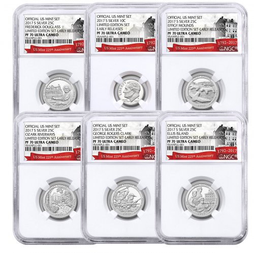 6-Coin Set - 2017-S U.S. Limited Edition Silver Proof Coins Set NGC PF70 ER Exclusive U.S. Mint 225th Anniversary Label