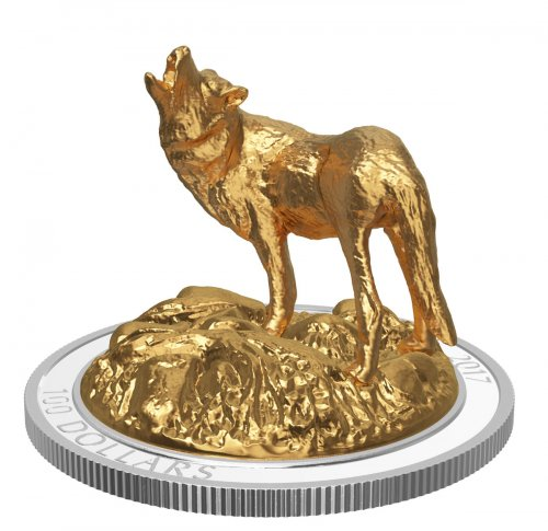 2017 Canada Sculpture of Majestic Canadian Animals - Grey Wolf 3D Sculpture 10 oz Silver Gilt Proof $100 Coin GEM Proof OGP
