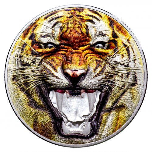 2017 Tanzania Rare Wildlife - Royal Bengal Tiger Ultra High Relief 2 oz Silver Colorized Proof Sh1,500 Coin Original Mint Box with COA