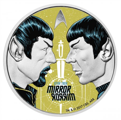 2017 Tuvalu Star Trek - Spock Mirror, Mirror 1 oz Silver Colorized Proof $1 Coin GEM Proof OGP