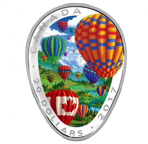 2017 Canada Hot Air Balloon Shaped 1 oz Silver Colorized Proof $20 Coin GEM Proof OGP