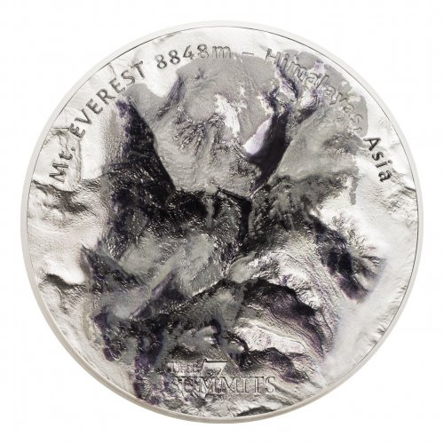 2017 Cook Islands 7 Summits - Everest Ultra High Relief 5 oz Silver Colorized $25 Coin GEM BU OGP