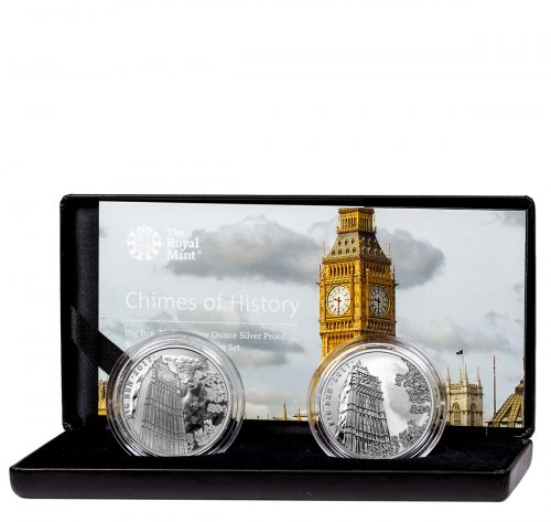 2017 Great Britain Landmarks of Britain - Big Ben 2-Coin Set 1 oz Silver £2 Coin GEM Proof + GEM Reverse Proof OGP
