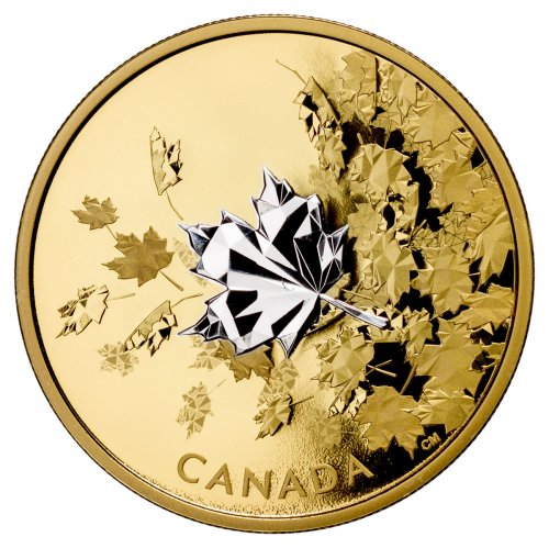 2017 Canada Whispering Maple Leaves 3 Oz Silver Gilt