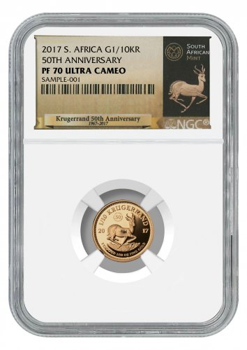 2017 South Africa 1/10 oz Gold Krugerrand - 50th Anniversary Privy Proof Coin NGC PF70 UC (Exclusive South Africa Label)