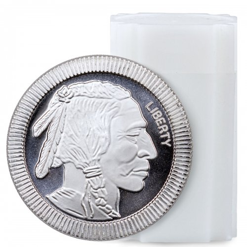 Roll of 20 - American Indian Buffalo Stacker 1 oz Silver Rounds