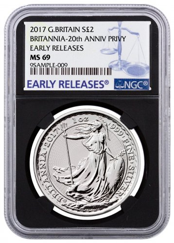 2017 Great Britain 1 oz Silver Britannia - 20th Anniversary Trident Privy £2 Coin NGC MS69 ER Black Core Holder
