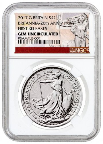 2017 Great Britain 1 oz Silver Britannia - 20th Anniversary Trident Privy £2 NGC GEM Uncirculated FR (Exclusive Britannia Label)