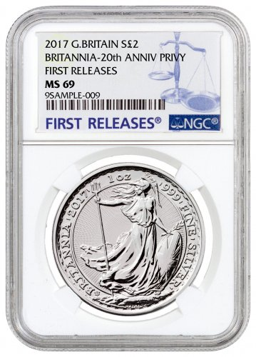 2017 Great Britain 1 oz Silver Britannia - 20th Anniversary Trident Privy £2 Coin NGC MS69 FR
