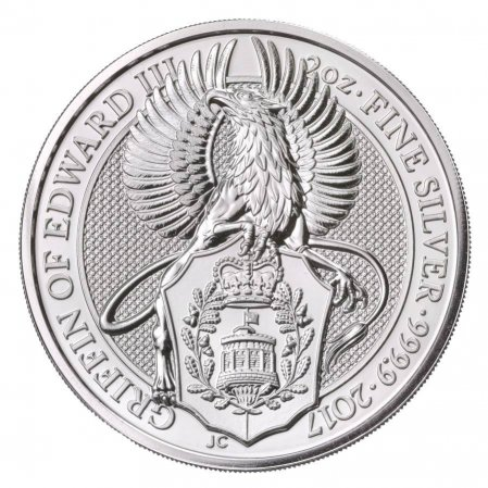2017 Great Britain 2 oz Silver Queen's Beasts - The Griffin of Edward III £5 Coin GEM BU