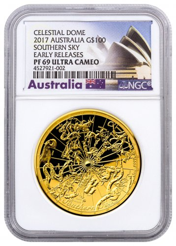 2017 Australia Celestial Dome - Southern Sky Domed 1 oz Gold Proof $100 Coin NGC PF69 UC ER (Exclusive Australia Label)